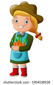 Smiling farmer girl holding some carrots illustration