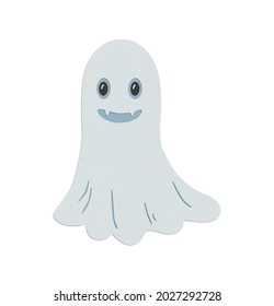 Smiling ghost Booo paper cut Halloween horror