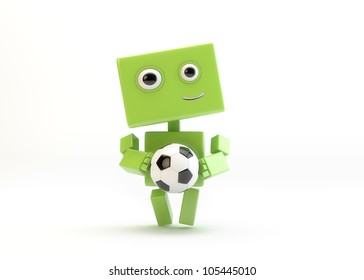 Smiling green android with football symbol/Robot with football ball