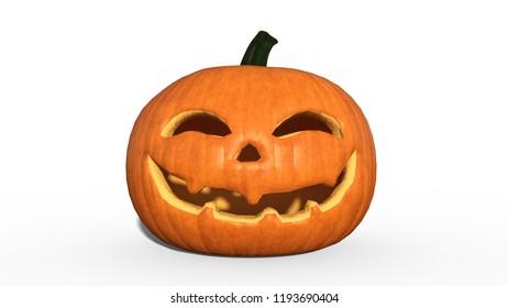 Smiling Halloween pumpkin, carved Jack O' Lantern pumpkin decoration isolated on white background, 3D rendering