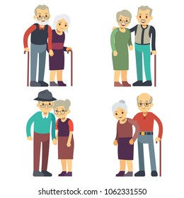 Smiling and happy old couples. Elderly families cartoon characters set. Grandfather and grandmother couple, woman and man elderly illustration
