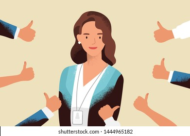 Smiling happy young woman surrounded by hands with thumbs up. Concept of public approval, acknowledgment, recognition, acceptance and appreciation. Colorful illustration in flat cartoon style