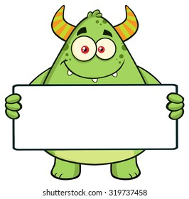 Smiling Horned Green Monster Cartoon Character Holding A Blank Sign. Raster Illustration Isolated On White