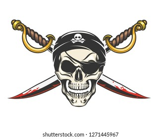 Smiling Human Skull and crossed sabres drawn in tattoo style.  Illuistration.