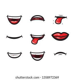 Smiling lips, mouth with tongue, white toothed smile and sad expression mouth and lips illustration icon. Lips and mouth expressing different emotions, funny and sad smiles isolated on white