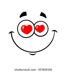 Smiling Love Cartoon Funny Face With Hearts Eyes Expression. Raster Illustration Isolated On White Background