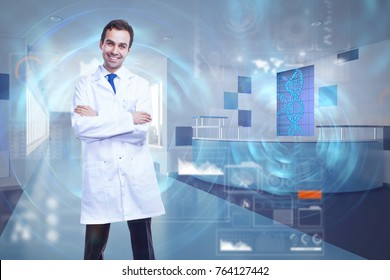 Smiling male doctor with folded arms standing in abstract hospital interior with glowing DNA interface. Medicine and future concept. Double exposure