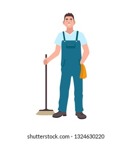 Smiling man dressed in dungarees holding scrubber isolated on white background. Male cleaning service worker with floor brush. Janitor, cleaner or sweeper. Flat cartoon colorful illustration.