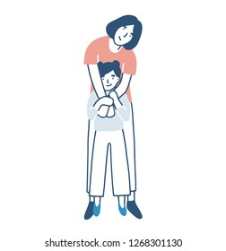 Smiling mother and daughter warmly hugging or cuddling. Mom standing behind child girl and embracing her. Happy loving family. Cute pretty female cartoon characters. Colored illustration