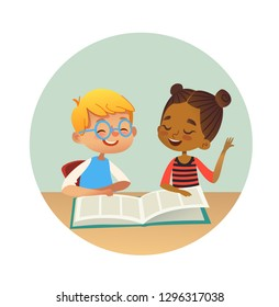 Smiling multiracial boy and girl reading books and talking to each other at school library. School kids discussing literature in round frames. Cartoon  illustration for banner, poster.