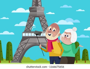Smiling old couple doing selfie on background of Eiffel tower in Paris. Active elderly concept with retired people around the world. Senior couple traveling by famous attractions illustration.