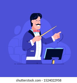 Smiling orchestra conductor character directing with baton on concert hall. Leader man in stage tuxedo with bow-tie conducting musical performance on stage. Effective management concept.