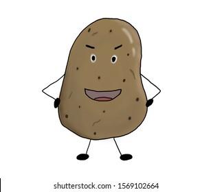 Smiling potato cartoon standing with arms akimbo, isolated potato cartoon on white background