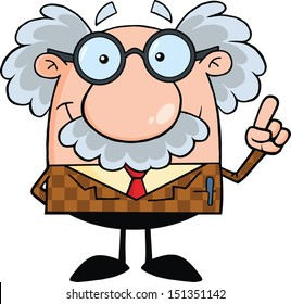 Smiling Professor With An Idea. Raster Illustration