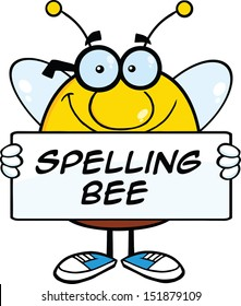 Smiling Pudgy Bee Cartoon Mascot Character Holding A Banner With Text. Raster Illustration