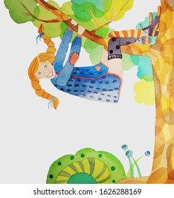 A smiling red-haired pigtailed girl called Pippi Longstocking wearing a blue dress, dissimilar stockings and long-nosed lace shoes is climbing a tree and hanging on a tree branch with her back down