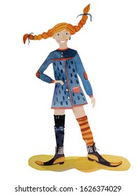 A smiling red-haired pigtailed girl called Pippi Longstocking wearing a blue dress, dissimilar stockings and long-nosed lace shoes