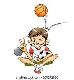 Smiling sport boy sitting with basketball, football and table tennis racket doing the victory sign - white background