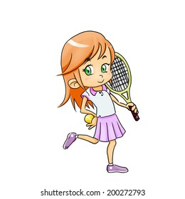 Smiling sport girl standing with tennis racket and ball - white background