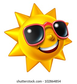 Smiling summer sun character with sunglasses as a happy ball of glowing hot seasonal fun and a symbol of vacation and relaxation under with sunny weather isolated on white.