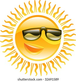 A smiling sun with sunglasses icon illustration