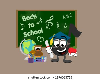 Smiling teacher music note holding a diploma and an apple while standing in front of a blackboard with a globe and an owl sitting on a pile of books.