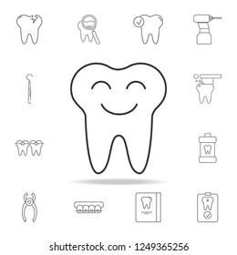Smiling tooth icon. Detailed set of dental outline line icons. Premium quality graphic design icon. One of the collection icons for websites, web design, mobile app