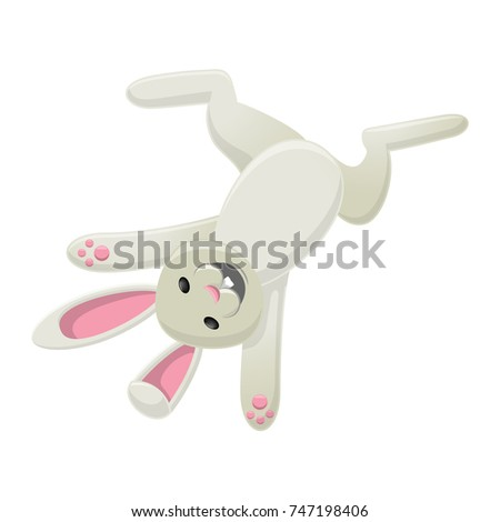 Smiling White Bunny Head Over Heels Stock Illustration Royalty