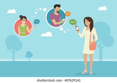 Smiling woman holds the smartphone in her hand and sending messages to friends via messenger app. Flat illustration of instant texting and data sharing