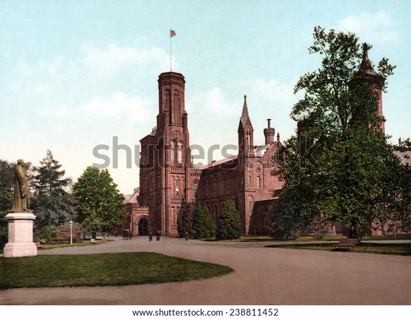 The Smithsonian Institution Castle. Washington, DC. photochrom ca. 1898