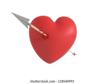 Smitten heart in love at first sight with a wooden arrow shedding little hearts in an