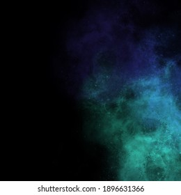 Smoke cloud blue green color texture explosion cosmic motion black background