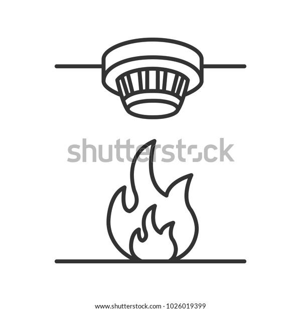 Smoke Detector Linear Icon Fire Alarm Stock Illustration 1026019399