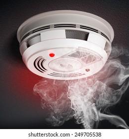 Smoke Detector with red warning light sensing smoke