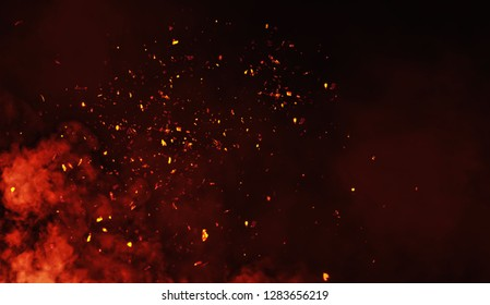 Smoke with embers particles texture overlays .
