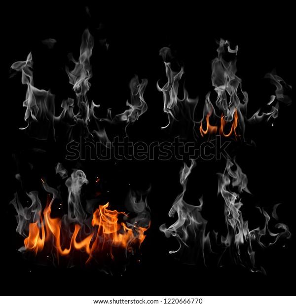 Smoke Fire On Black Background Stock Illustration 1220666770
