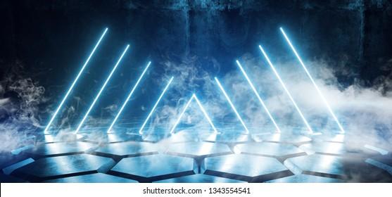 Smoke Fog Cyberpunk Neon Glowing Vibrant Blue Laser Led Glowing Tube Lights On Sci Fi Futuristic Modern Tiled Hexagonal Floor Dark Empty Room Hall 3D Rendering Illustration