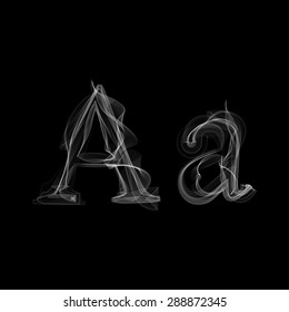 Smoke font. Letter A. Raster illustration alphabet