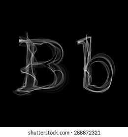 Smoke font. Letter B. Raster illustration alphabet