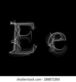 Smoke font. Letter E. Raster illustration alphabet