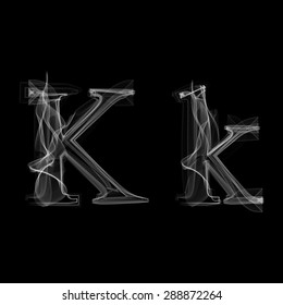 Smoke font. Letter K. Raster illustration alphabet