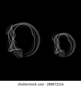 Smoke font. Letter O. Raster illustration alphabet