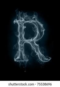 Smoke font. Letter R