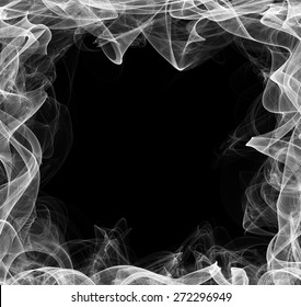 Smoke frame. Stylized frame for text on black background. Curly smoke blank banner.