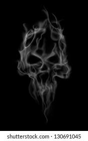 smoke makes the shape of spooky skull