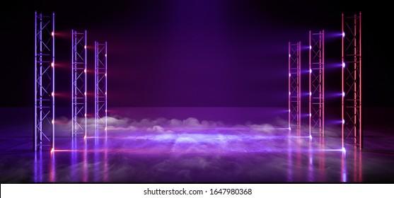 Smoke Neon Laser Gate Cyber Futuristic Sci Fi Purple Blue Pantone Glowing Lights Lines Construction Stage Cocnrete Tunnel Corridor Virtual Reality Club Dance 3D Rendering Illustration
