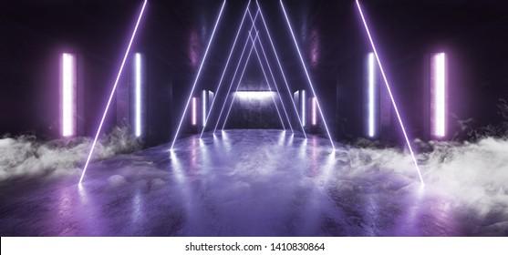 Smoke Neon Lights Futuristic Sci Fi Purple Blue Triangle Shaped Glowing Vibrant Empty Space Grunge Concrete Tunnel Corridor Stage Spaceship Garage Underground 3D Rendering Illustration