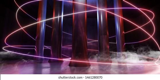 Smoke Neon Lights Magical Hall Alien Spaceship Fantasy Column Grunge Concrete Corridor Tunnel Underground Garage Laser Beams Purple Blue Glow Vibrant 3D Rendering Illustration
