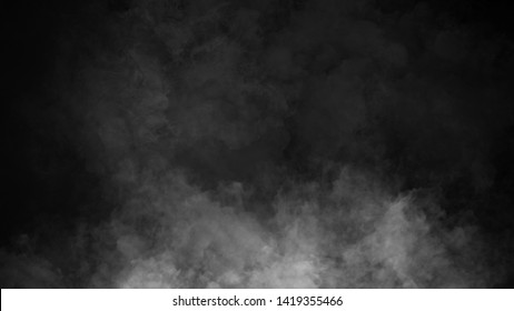Smoke on the floor . Isolated black background. Design element.
