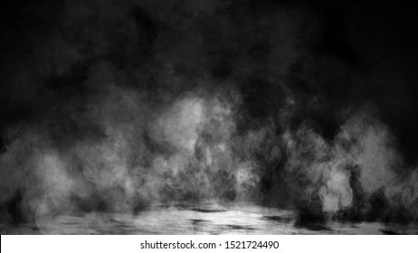 Smoke on isolated black background. Mystery steam effect texure overlays.